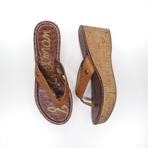 Sam Edelman Romy wedge heel sandals size 10 tan